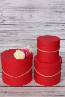 Набор подарочные коробок из 3 шт - Цилиндр красный d=20, h=17см В436