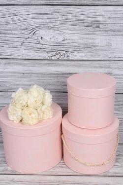 Набор подарочные коробок из 3 шт - Цилиндр легкая патина розовый d=20, h=17см В742