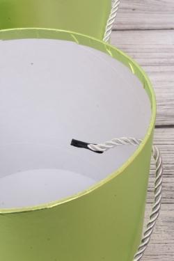 Набор подарочные коробок из 3 шт - Цилиндр металл салатовый d=21, h=19см  N283