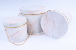 Набор подарочные коробок из 3 шт - Цилиндр мрамор персик  В4115