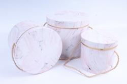 Набор подарочные коробок из 3 шт - Цилиндр мрамор розовый   В4115