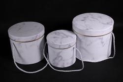 Набор подарочные коробок из 3 шт - Цилиндр мрамор серый В4115