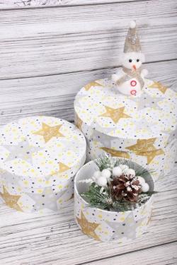Набор подарочные коробок из 3 шт - Цилиндр Нов. Год 21*11,5 см  SY2247-2129G