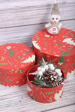 Набор подарочные коробок из 3 шт - Цилиндр Нов. Год 21*11,5 см  SY2247-2110G