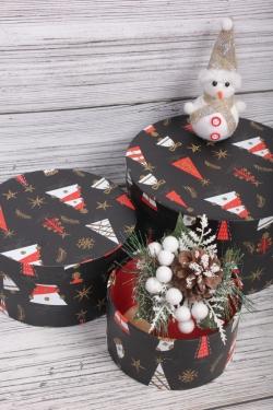 Набор подарочные коробок из 3 шт - Цилиндр Нов. Год 21*11,5 см  SY2247-2109G