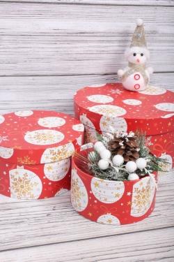 Набор подарочные коробок из 3 шт - Цилиндр Нов. Год 21*11,5 см  SY2247-2127NG