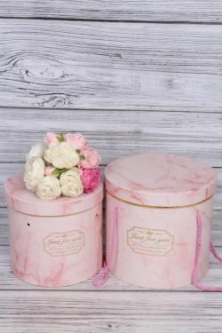 Набор подарочные коробок из 3 шт - Цилиндр Оникс розовый d=21, h=17см В355