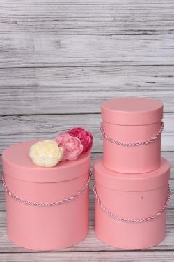 Набор подарочные коробок из 3 шт - Цилиндр перламутр розовый d=17, h=17см В435