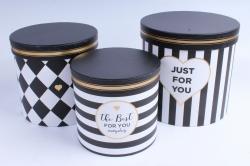 Набор подарочные коробок из 3 шт - Цилиндр Полоска