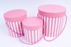 Набор подарочные коробок из 3 шт - Цилиндр полоска розовая  К208