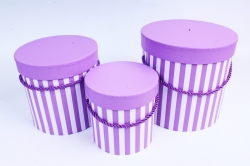 Набор подарочные коробок из 3 шт - Цилиндр полоска сиреневая  К208