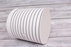 Набор подарочные коробок из 6 шт - Цилиндр полоски белый  d=23, h=24см  В163