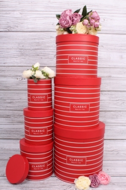 Набор подарочные коробок из 6 шт - Цилиндр полоски красный  d=23, h=24см  В163
