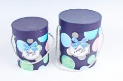 Набор подарочные коробок из 2 шт - Цилиндр Пузыри фиолет   К445