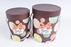 Набор подарочные коробок из 2 шт - Цилиндр Пузыри шоколад  К445