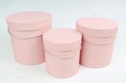 Набор подарочные коробок из 3 шт - Цилиндр розовый  К180