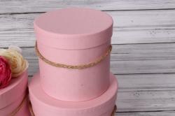 Набор подарочные коробок из 3 шт - Цилиндр розовый d=20, h=17см В436