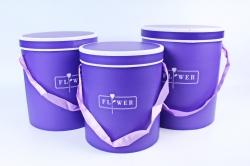 Набор подарочные коробок из 3 шт - Цилиндр с белым кантом фиолетовый  S023