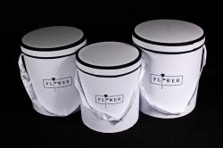 Набор подарочные коробок из 3 шт - Цилиндр с черным кантом белый  S025
