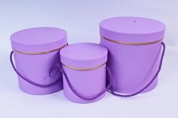 Набор подарочные коробок из 3 шт - Цилиндр с золотой полоской сиреневый  К205