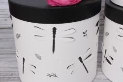 Набор подарочные коробок из 3 шт - Цилиндр Стрекозы объёмные белый d=19, h=19см В437