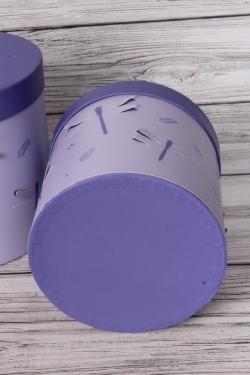 Набор подарочные коробок из 3 шт - Цилиндр Стрекозы объёмные сирень d=19, h=19см В437