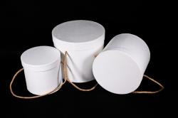 Набор подарочные коробок из 3 шт - Цилиндр тисненый белый  К203