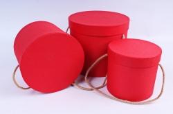 Набор подарочные коробок из 3 шт - Цилиндр тисненый красный К203