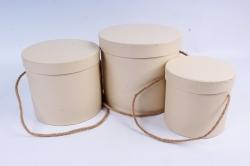 Набор подарочные коробок из 3 шт - Цилиндр тисненый кремовый К203