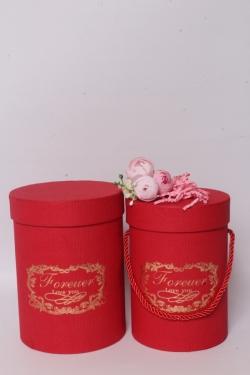 """Набор подарочные коробок из 2 шт - Цилиндр """"Виньетка"""" красный  d=13, h=17,5см  В569"""