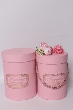"""Набор подарочные коробок из 2 шт - Цилиндр """"Виньетка"""" розовый  d=13, h=17,5см  В569"""