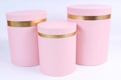 Набор подарочные коробок из 3 шт - Цилиндр золотая кайма розовый  Y16