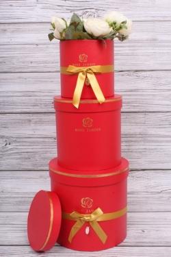 Набор подарочные коробок из 3 шт - Цилиндр золотой бантик красный d=17, h=16.5см  В154