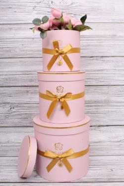 Набор подарочные коробок из 3 шт - Цилиндр золотой бантик розовый d=17, h=16.5см  В153