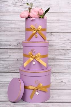 Набор подарочные коробок из 3 шт - Цилиндр золотой бантик сиреневый d=17, h=16.5см  В151