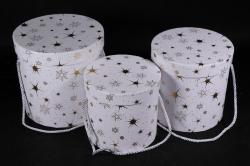 Набор подарочные коробок из 3 шт - Цилиндр Звёзды крупные белый