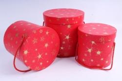 Набор подарочные коробок из 3 шт - Цилиндр Звёзды  крупные красный