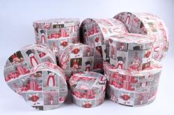 Набор подарочные коробок из 10 шт - Круг Нов. Год  Игрушки красные SY813-1604NG