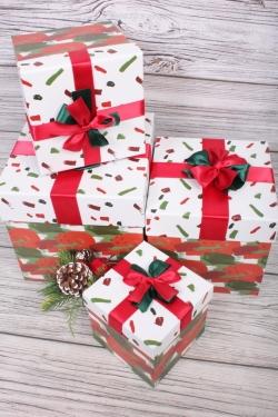 Набор подарочные коробок из 4 шт - КУБ Краски 21*21*21см   В231