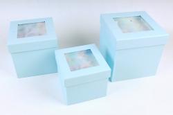 Набор подарочные коробок из 3 шт - КУБ Перышки голубой   S0616
