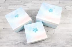 Набор подарочные коробок из 3 шт - Квадрат космос голубой  D19