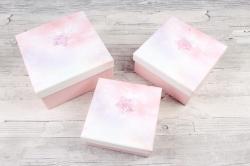 Набор подарочные коробок из 3 шт - Квадрат космос розовый   D19