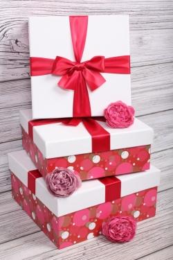 Набор подарочные коробок из 3 шт - Квадрат Пузыри 24*24*11см    N691