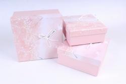 Набор подарочные коробок из 3 шт - Квадрат весна розовый   S608