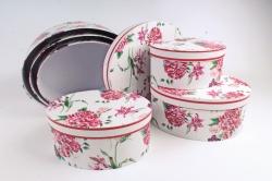 Набор подарочные коробок из 6 шт - Овал Цветы на белом 37*28*16см D766
