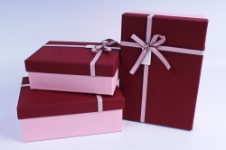Набор подарочные коробок из 3 шт - Прямоугольник бордовая крышка