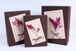 Набор подарочные коробок из 3 шт - Прямоугольник Гербарий коричневый  Арт.302