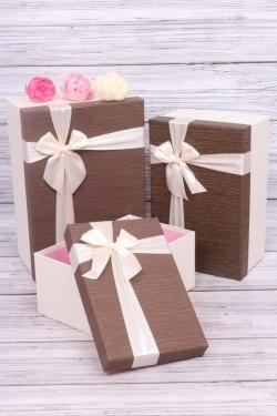 Набор подарочные коробок из 3 шт - Прямоугольник глубокий шоколад 32*21*14см В359
