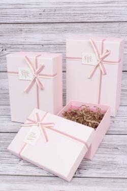 Набор подарочные коробок из 3 шт - Прямоугольник меланж розовый 22*15*9см  В101