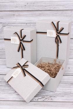 Набор подарочные коробок из 3 шт - Прямоугольник меланж серый 22*15*9см  В101